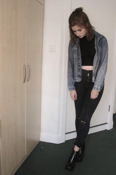 black ripped skinny jeans denim jacket