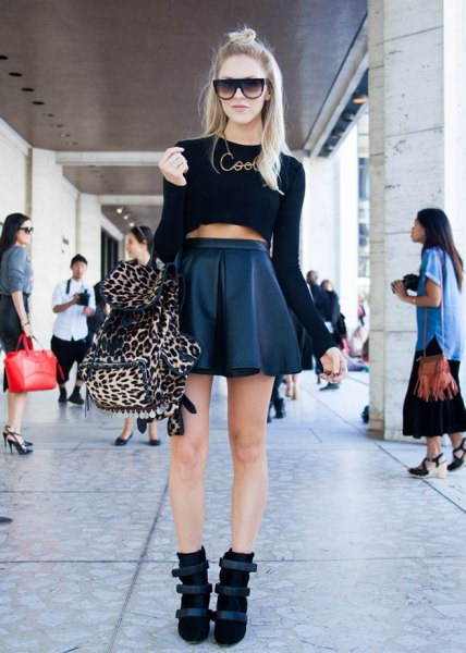 black crop top high waist leather mini skater skirt