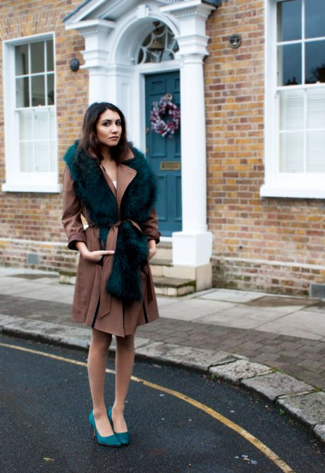 faux fur scarf trench coat
