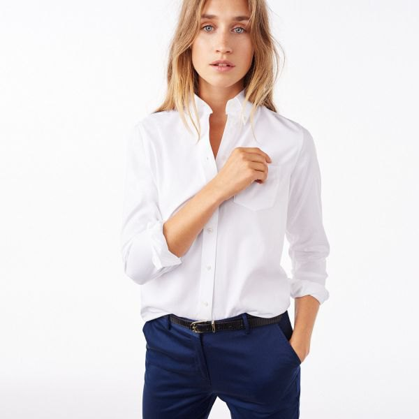 white button up shirt navy chinos