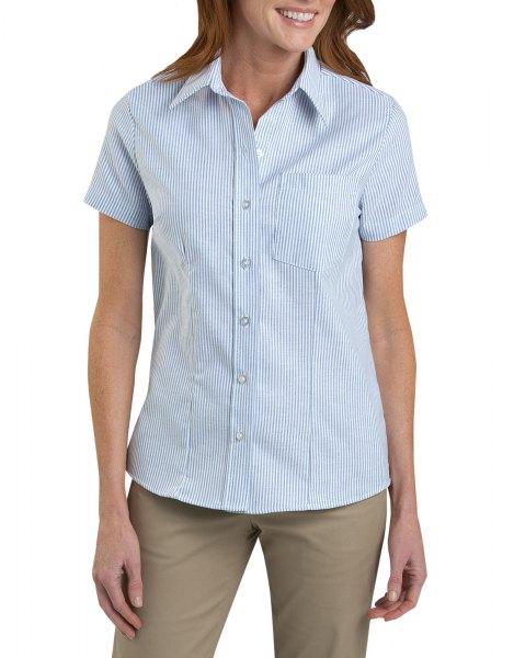 blue striped short sleeve shirt olive dress trousers
