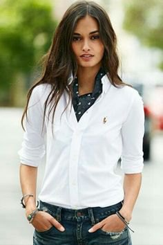 white shirt navy silk scarf jeans