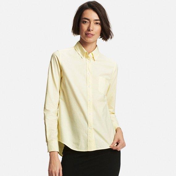 light yellow oxford shirt black skinny jeans