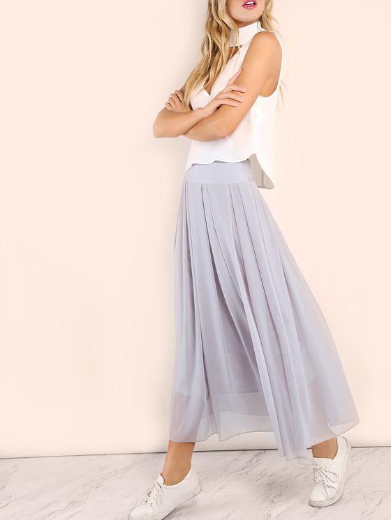 elastic waist skirt gray maxi