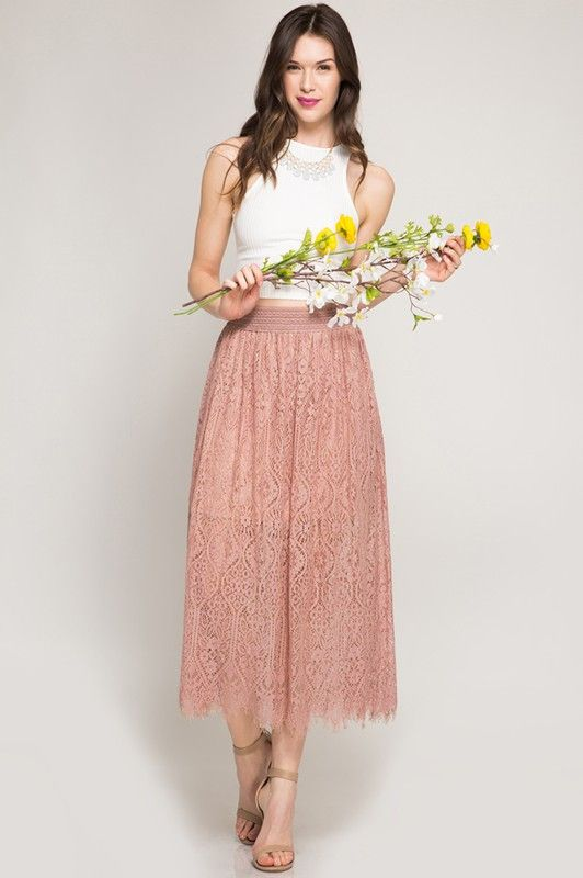 elastic waist skirt dust rose