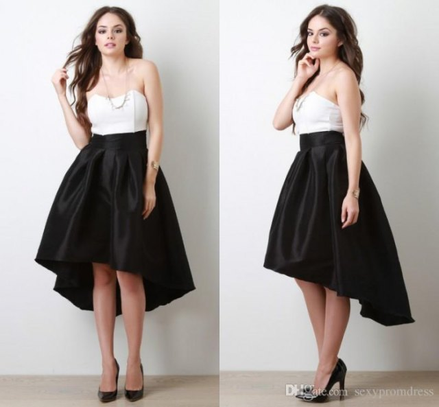 white strapless top black silk with high low flare skirt