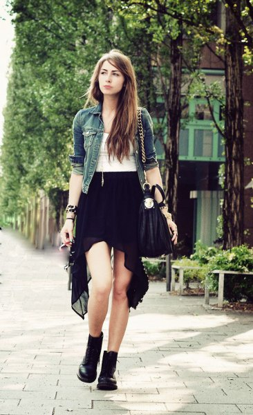black chiffon with high low skirt white denim jacket