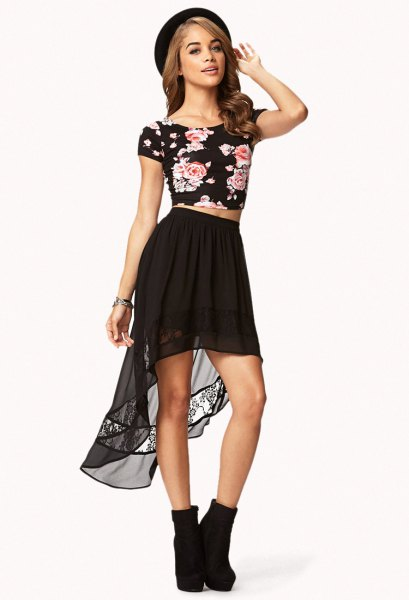 chiffon high low skirt black floral cropped tee