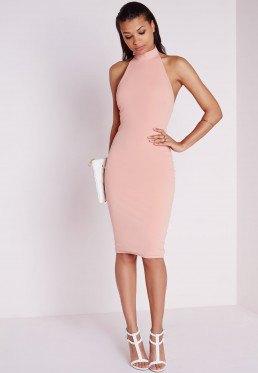 light pink halter neck bodycon dress white heels