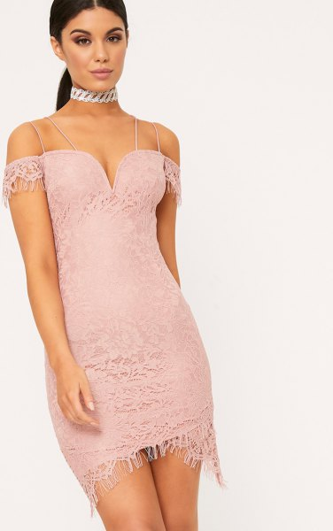 pink from the shoulder deep v-neck lace dress