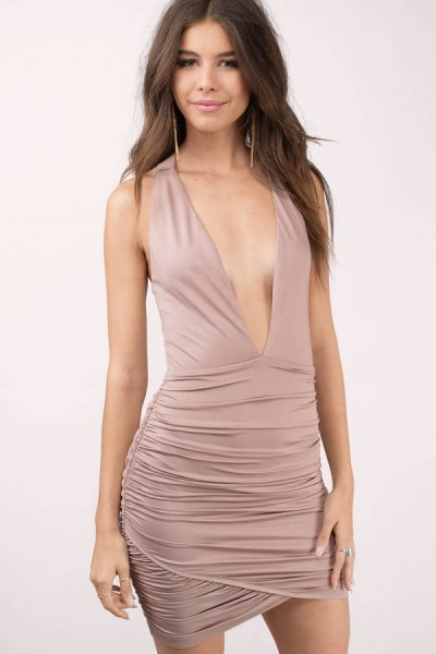 pink deep v-neck ruched bodycon dress