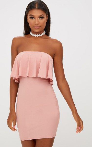 pink folded shoulder ruffle tube dress