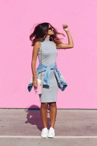pink mock neck sleeveless bodycon sweater dress