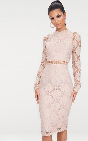 pink lace half sheer bodycon midi dress
