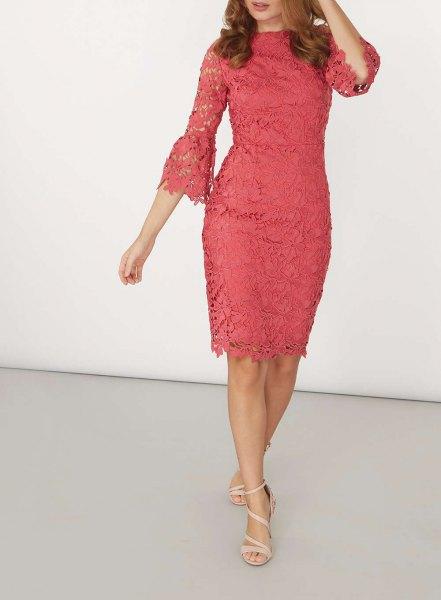 pink pink watch sleeve lace midi dress