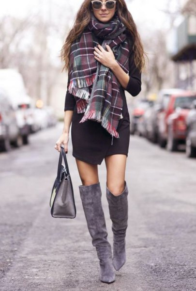 black dress checkered scarf gray suede high boots