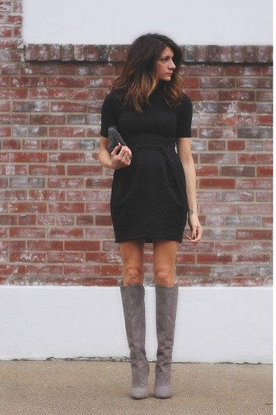 suede knee high boots black gathered waist dress at the waist