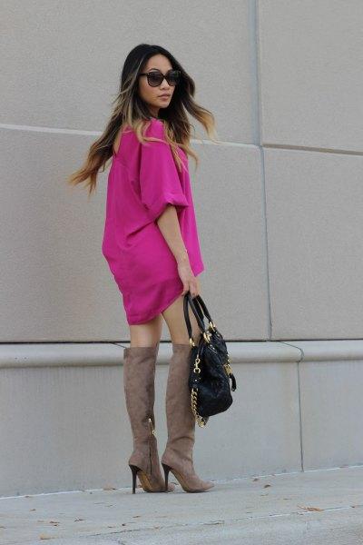 neon pink chiffon mini shift dress