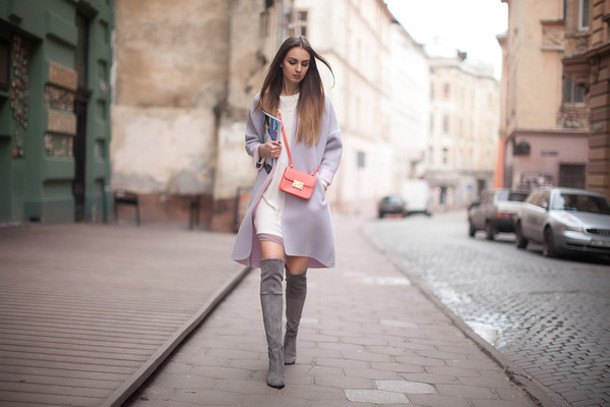 suede boots white sweater dress gray long jacket