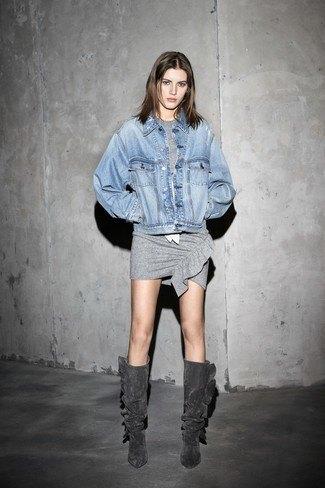 gray knee high boots gray t-shirt dress denim jacket