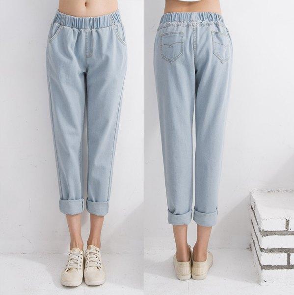 white crop top light blue cuff elasticated waist jeans