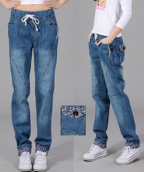 white long sleeve print tee 3d elasticated waist baggy jeans