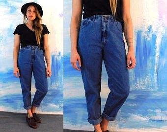 black t-shirt blue cuffed jeans