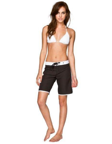 white bikini top black board shorts