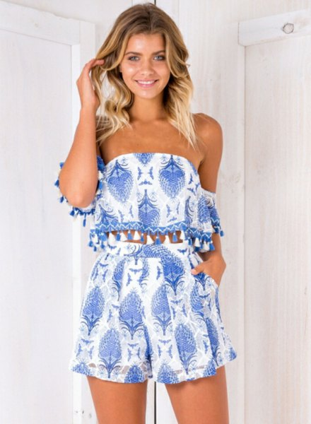 two-piece blue and white tribal printed dress