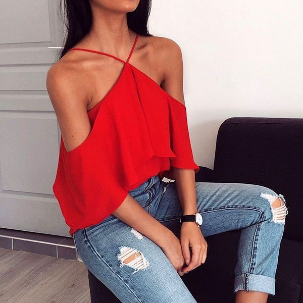 red shoulder strap neck top ripped skinny jeans