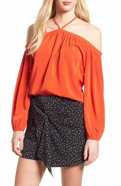 red off shoulder halter top black polka dot skirt