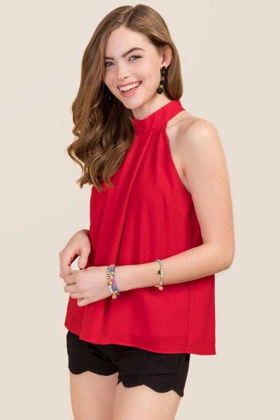 red chiffon top black combed mini mini shorts
