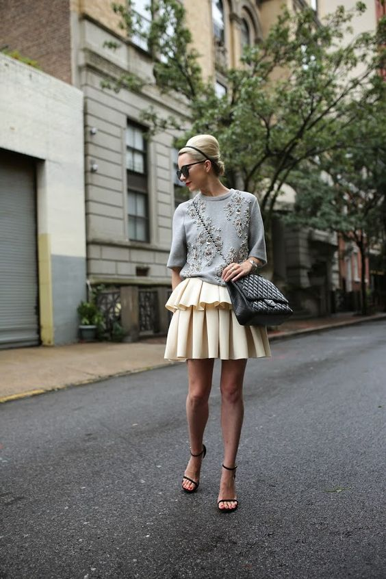 ornate top gray ruffle skirt