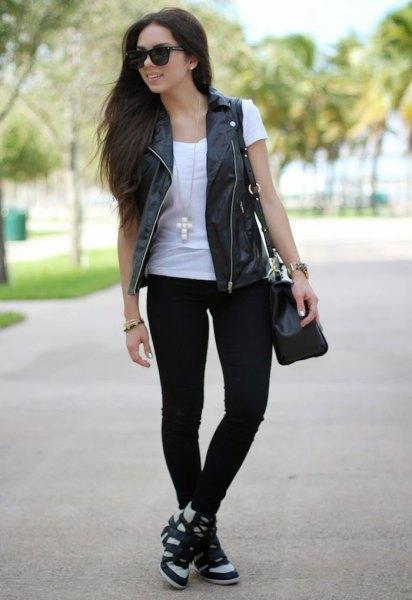 black leather vest white t-shirt jeans