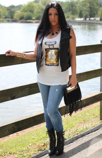 white printed tank leather vest