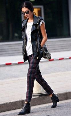 white crochet thin plaid skinny pants
