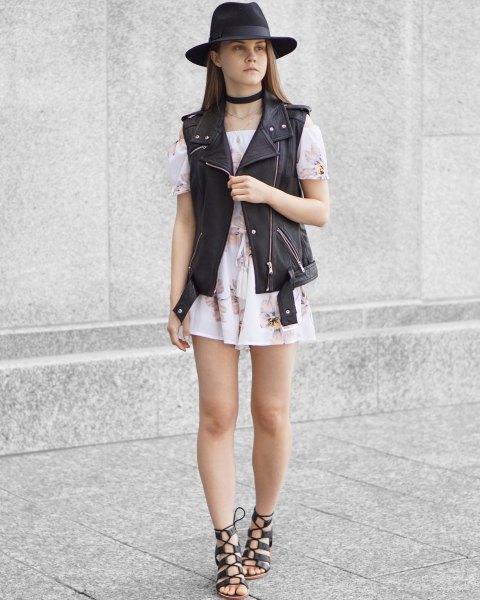 white off shoulder floral mini dress
