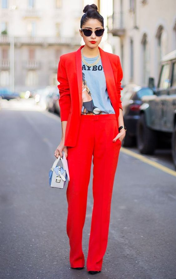 red blazer matchy pantsuit