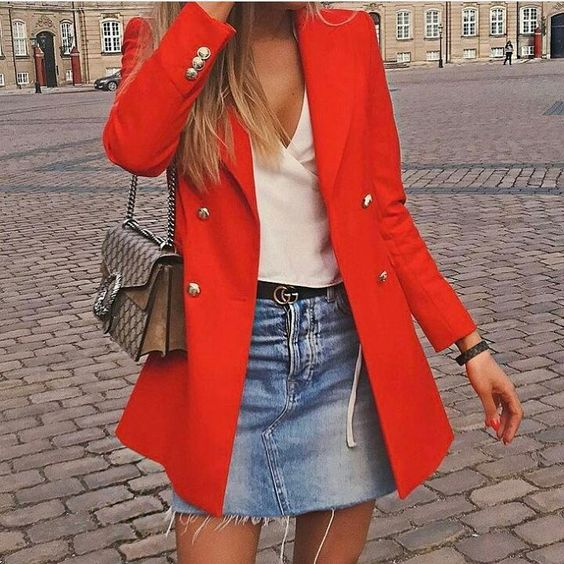 red blazer denim skirt