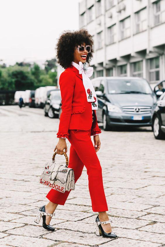 red blazer ruffles