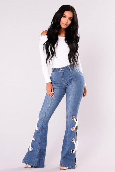 white top watch jeans lace details