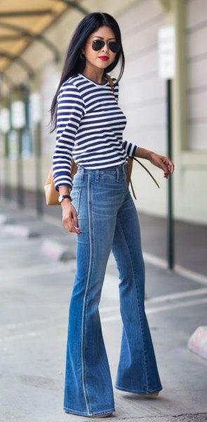 blue watch bottom jeans striped long sleeve tee