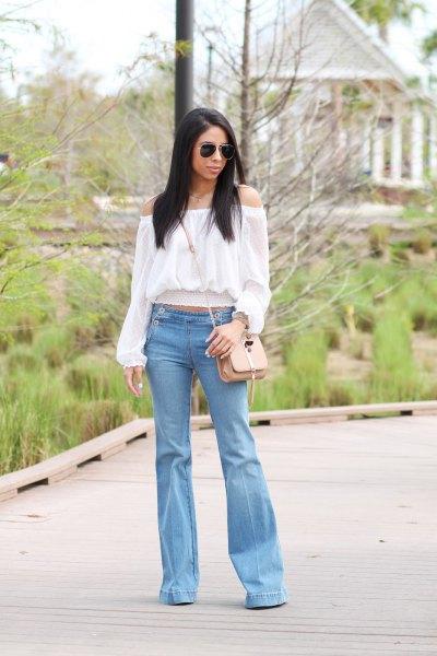 white off shoulder light blue jeans