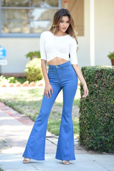 white half-heated crop top sky blue watch jeans