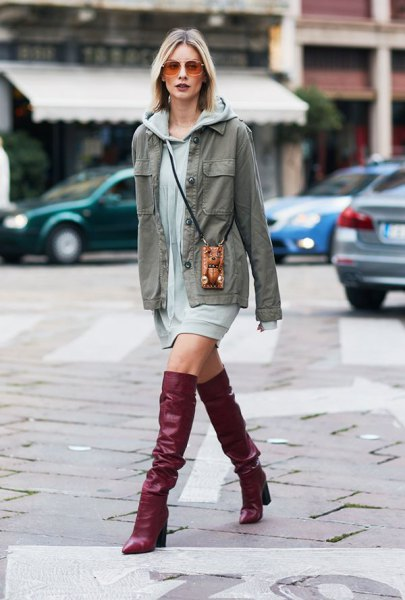 brown leather knee high boots gray hoodie dress