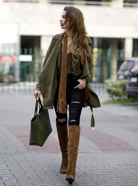 camel trench coat knee high suede boots