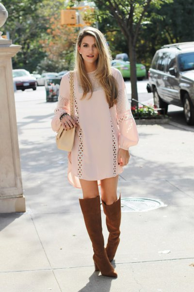 brown boots white crochet dress