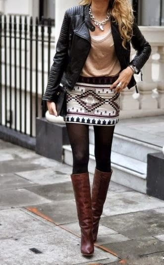 black moto jacket black and white mini skirt