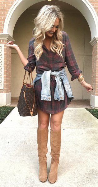 light brown suede boots dressed in plaid shirt