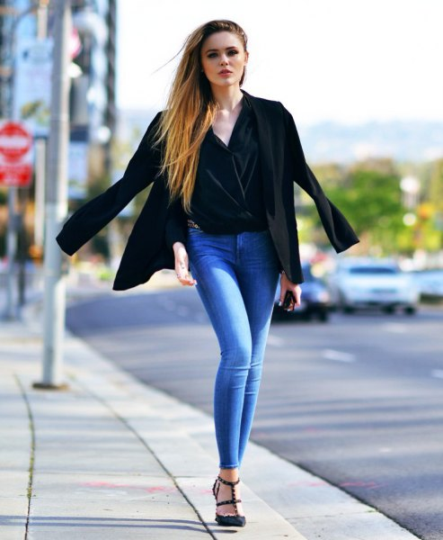black velvet draped top blazer